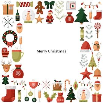 Vectorillustratie met kerst iconen in een vierkante vorm met een plek voor tekst. nieuwjaar illustraties