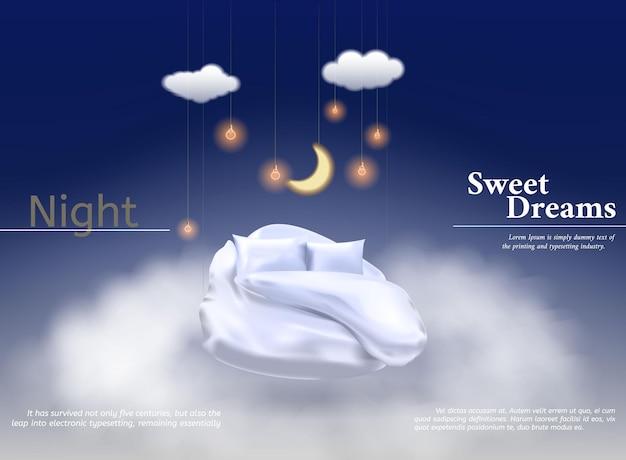 Vectorillustratie met realistisch d pastel deken kussen voor de beste slaap comfortabele slaap