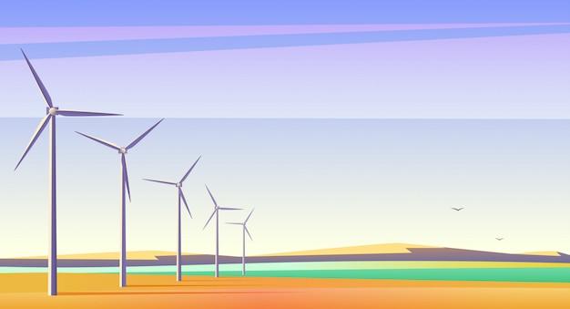 Vectorillustratie met rotatie windmolens voor alternatieve energiebron in ruim veld met blauwe lucht.
