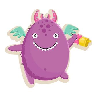 Vectorillustratie met schattig klein paars monster is klaar voor de eerste schooldag met een bel in zijn poot. geïsoleerd op witte achtergrond