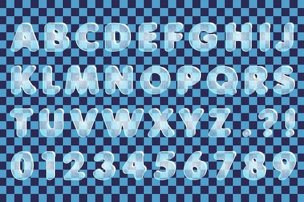Vectorillustratie met transparante letters en cijfers op vierkante achtergrond