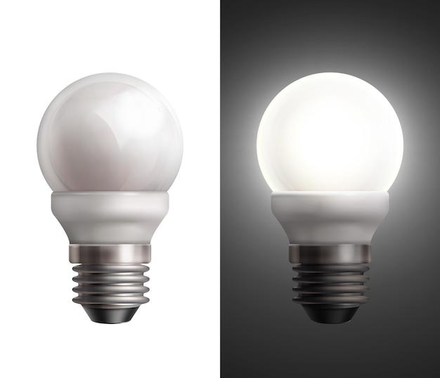 Vectorillustratie met uitgeschakelde en gloeiende spaarlampen op zwarte en witte achtergrond
