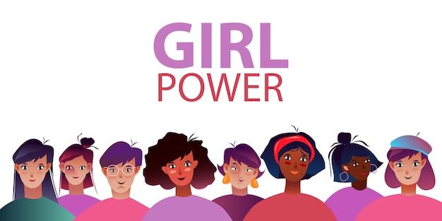 Vectorillustratie met verschillende vrouwen. girl power banner met vrouwelijke gezichten in vlakke stijl.