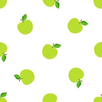 Vectorillustratie naadloos patroon met groene appels met stengel en blad op witte achtergrond