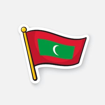 Vectorillustratie nationale vlag van de malediven op vlaggestok locatiesymbool voor reizigers