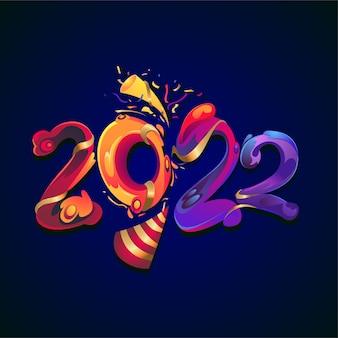 Vectorillustratie nieuwjaar 2022 kleurrijke vloeibare tekst
