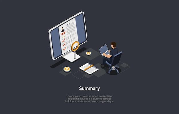 Vectorillustratie op donkere achtergrond. isometrische samenstelling op samenvatting concept. cartoon 3d-stijl. zakelijk cv, sollicitatieformulier, personeelsagent. computerscherm, personage