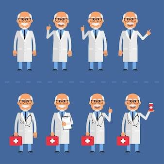 Vectorillustratie, oude dokter in verschillende poses, eps-10 formaat.
