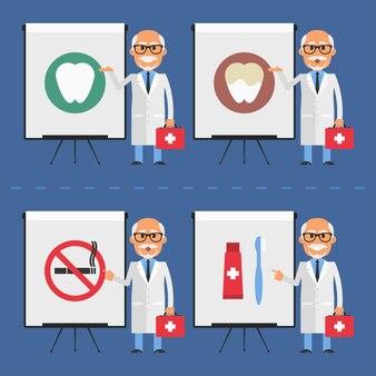Vectorillustratie, oude stomatologist geeft op flip-over, eps-10 formaat.