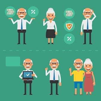 Vectorillustratie, ouderen pensioenfonds concept, eps-10 formaat.