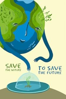 Vectorillustratie over het behoud van bomen en planten op de planeet aarde.