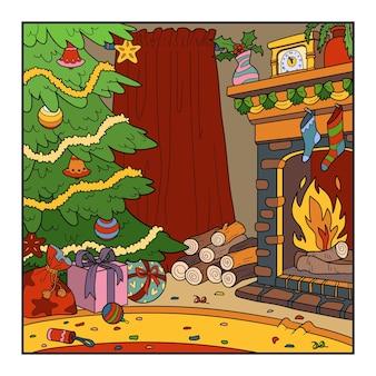 Vectorillustratie over kerstmis, kleurrijke achtergrond met kerstboom en open haard