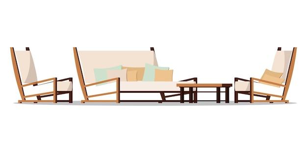 Vectorillustratie plat ontwerp veranda zone meubels.