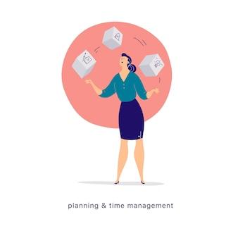 Vectorillustratie platte cartoon van zakelijke dame office karakter jongleren met blokken geïsoleerd op lichte achtergrond metafoor symbool prestaties time management feminisme planning motivatie groei