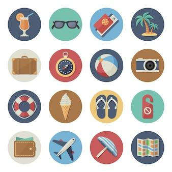 Vectorillustratie platte pictogrammenset toerisme en reizen in eenvoudig ontwerp