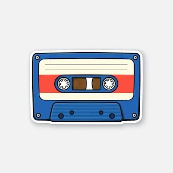 Vectorillustratie retro audiocassette analoge media voor het opnemen en luisteren naar stereomuziek