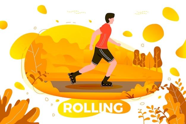 Vectorillustratie - rolschaatsen man in park. bos, bomen en heuvels op de achtergrond. banner, site, postersjabloon met plaats voor uw tekst.