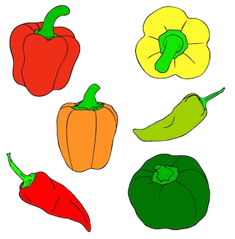 Vectorillustratie, set van rode, groene en gele geïsoleerde paprika's, schets handgeschilderde tekening