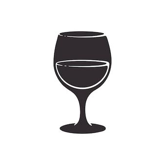 Vectorillustratie silhouet van een glas met wijn glazen beker alcohol drink