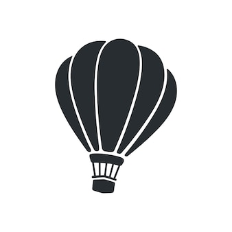 Vectorillustratie silhouet van hete luchtballon luchtvervoer geïsoleerd op witte achtergrond