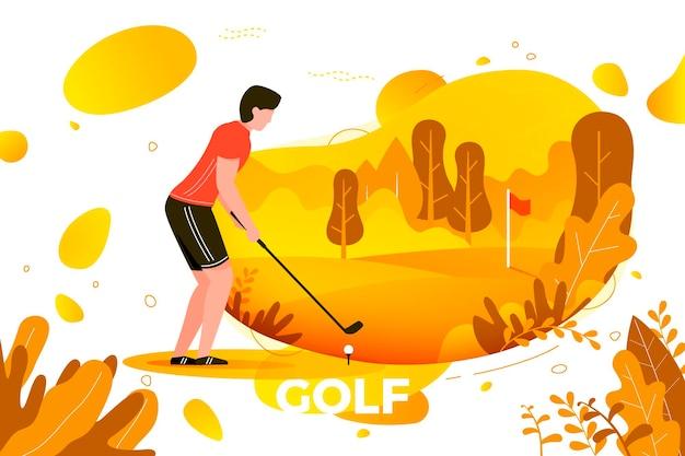 Vectorillustratie - sportieve jongeman golfen. hof, park, bomen en heuvels op felgele achtergrond. banner, site, postersjabloon met plaats voor uw tekst.