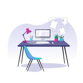 Vectorillustratie, thuiskantoor. computer, schrijfwaren en kamerplanten op een bureau.