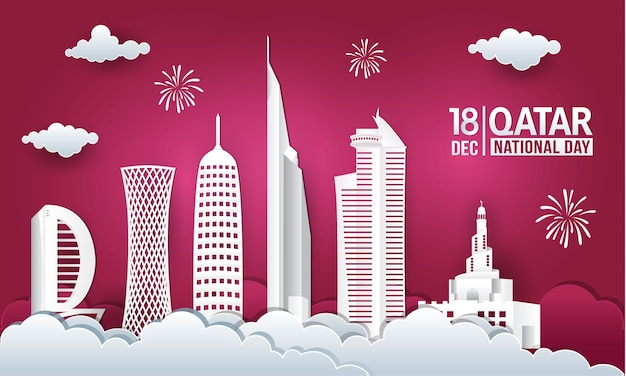 Vectorillustratie van 18 december qatar nationale feestdag met skyline van de stad