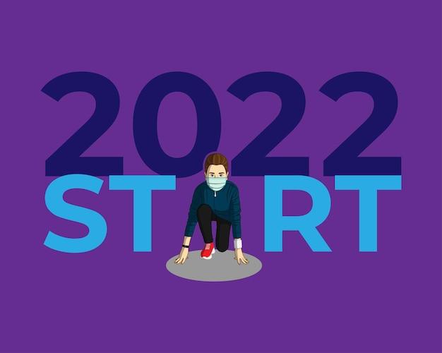 Vectorillustratie van 2022 nieuwjaar met nieuw normaal levensstijlconcept