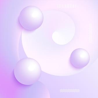 Vectorillustratie van 3d ballen op violette achtergrond. abstract ontwerp.