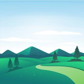 Vectorillustratie van aardlandschap op een zonnige dag in het platteland met bergen