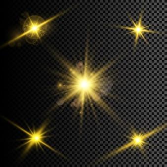 Vectorillustratie van abstracte flare lichtstralen een reeks sterren licht en stralingsstralen en brigh