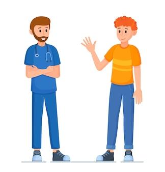 Vectorillustratie van arts en patiënt. concept geneeskunde met een mannelijke beoefenaar en een jonge mannelijke patiënt in een ziekenhuis. twee mensen praten staande ten voeten uit.