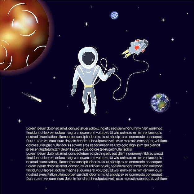 Vectorillustratie van astronaut met schip drijvend in de ruimte