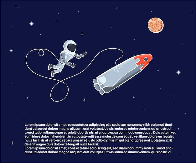 Vectorillustratie van astronaut zwevend in de ruimte. planeet exploratie concept