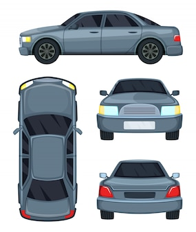 Vectorillustratie van auto. bovenkant, voor- en achterkant. auto-auto op wit wordt geïsoleerd dat