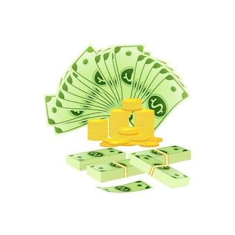 Vectorillustratie van bankbiljetten en munten