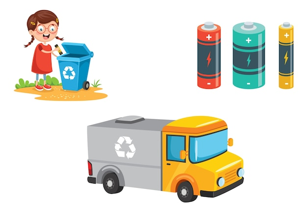 Vectorillustratie van batterij recycling Premium Vector