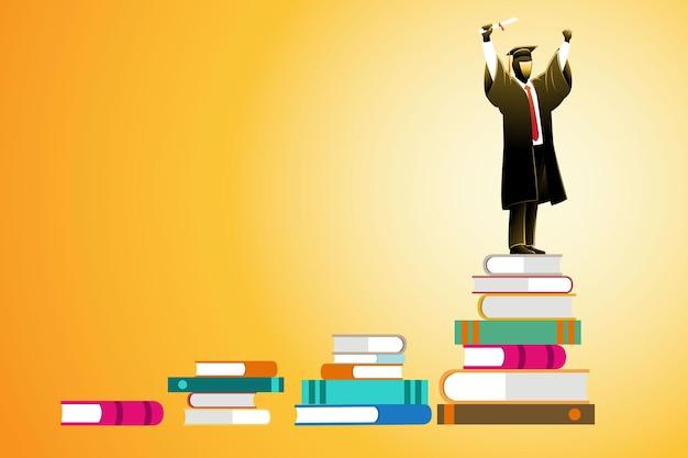 Vectorillustratie van bedrijfsconcept, afgestudeerde student staande op trap van stapel boeken