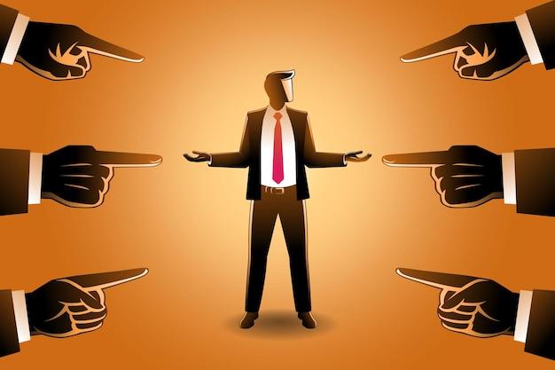 Vectorillustratie van bedrijfsconcept, een zakenman die wordt gewezen door gigantische vingers