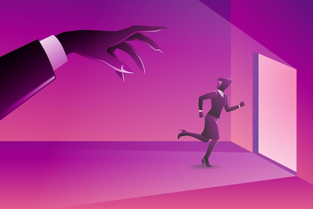 Vectorillustratie van bedrijfsconcept, een zakenvrouw die naar de deur rent, achtervolgd door een kwaadaardige gigantische hand?