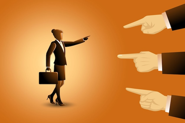 Vectorillustratie van bedrijfsconcept, een zakenvrouw die wordt gewezen door drie gigantische vingers, handen die wijzen om een zakenvrouw de schuld te geven