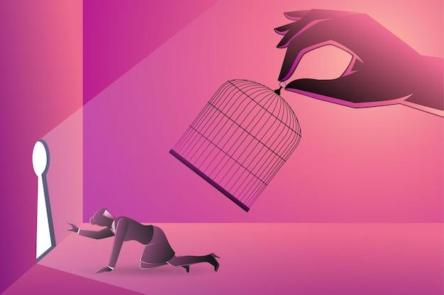 Vectorillustratie van bedrijfsconcept, gigantische hand die een zakenvrouw vastlegt met vogelkooi