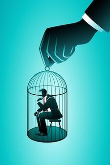 Vectorillustratie van bedrijfsconcept, kleine zakenman zittend in een kooi van vogels