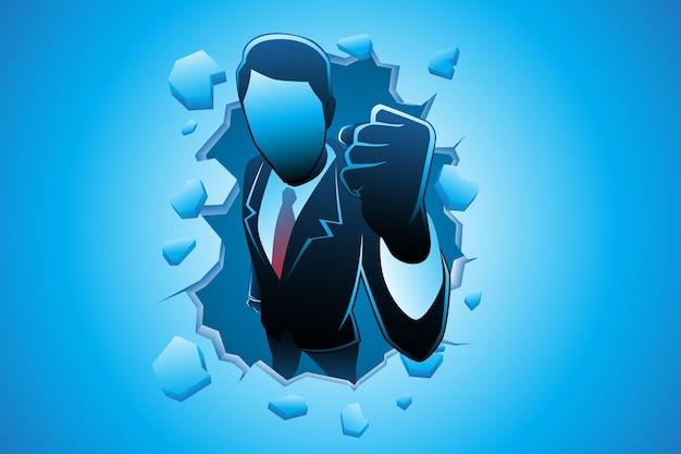 Vectorillustratie van bedrijfsconcept, opgewonden zakenman door muur terwijl hij zijn hand balde?