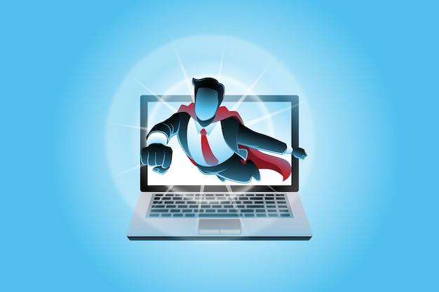 Vectorillustratie van bedrijfsconcept, super zakenman die uit het laptopscherm vliegt