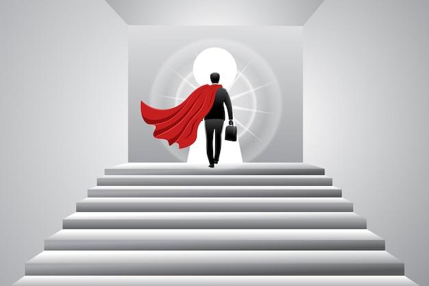 Vectorillustratie van bedrijfsconcept, superheld zakenman met koffer die de trap oploopt naar groot sleutelgat?