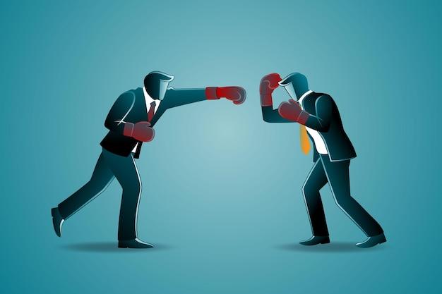 Vectorillustratie van bedrijfsconcept, twee zakenlieden die met bokshandschoenen vechten