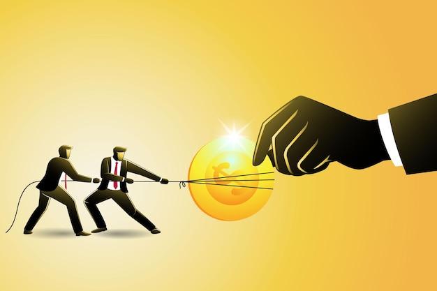 Vectorillustratie van bedrijfsconcept, twee zakenman gooit gouden munt door elkaar met gigantische hand