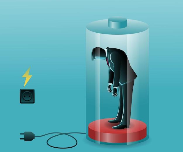 Vectorillustratie van bedrijfsconcept, vermoeide zakenman op lage batterij