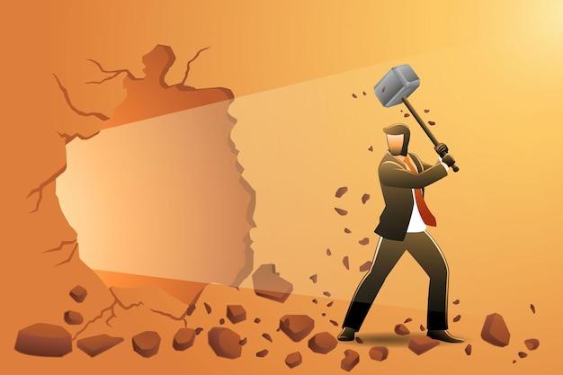 Vectorillustratie van bedrijfsconcept, zakenman die de muur breekt met hamer